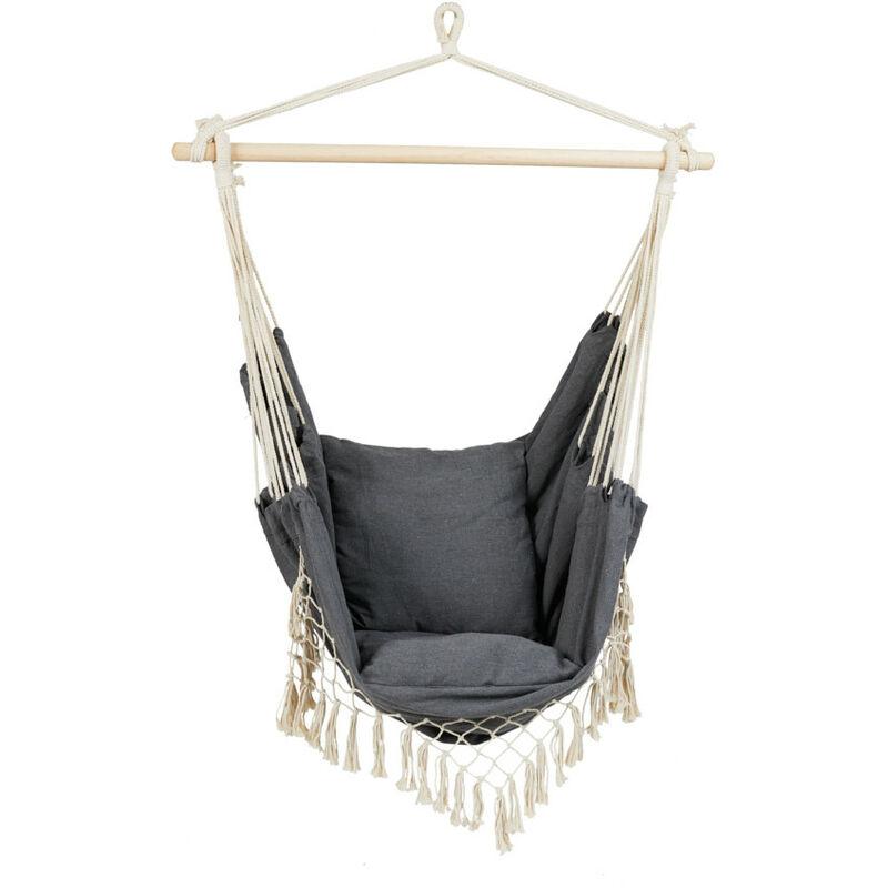 Chaise Suspendue Gris, Chaises Hamac exterieur et interieur, Siège Balançoire avec coussins, 100x105x128cm, Polycoton et Bois - Gris - 909 Outdoor