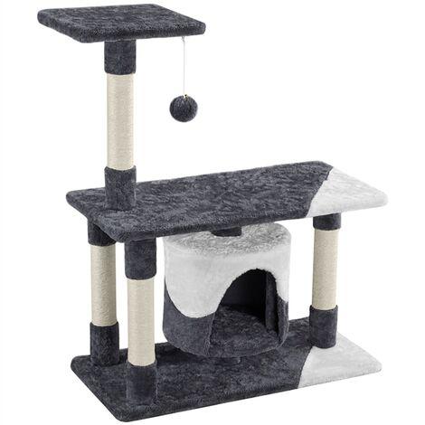 90cm Cat Tree Condo, Kitten Climbing Frame with Sisal-covered Scratching Post, Cozy Cat Nest Tree Dark Grey/White