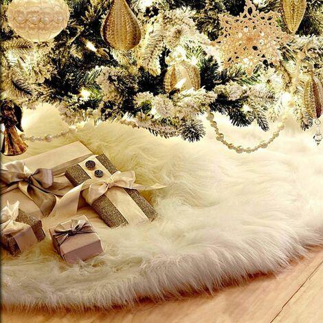 90cm Christmas Tree Decoration Plush Tree Skirt Pure White Long Haired Christmas Tree Basic Floor Mat Blanket
