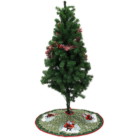 90cm Non Woven Christmas Tree Skirts Cartoon Santa Claus Elk Party Decor