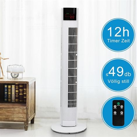 90CM Tower Fan incl. Remote Control Fan Air Conditioning Tower Fan Timer 45 Watt, Extra Quiet Columns
