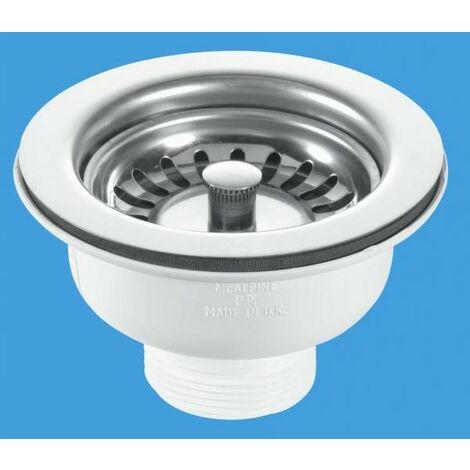 90mm Stainless Steel Basket Strainer Waste - Stem Ball Plug