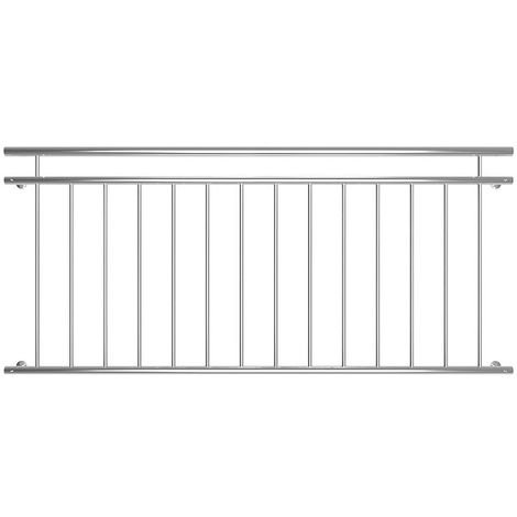 90x184cm Balcony Railing Window Railing Stainless Steel French Balcony Grille Silver V2A