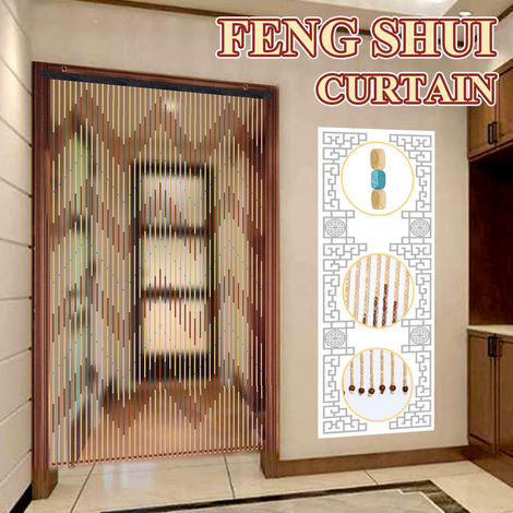 90X195cm 41 Line Wooden Bead Chain Door Curtain Blinds Fly Screen For Porch Bedroom Living Room Bathroom