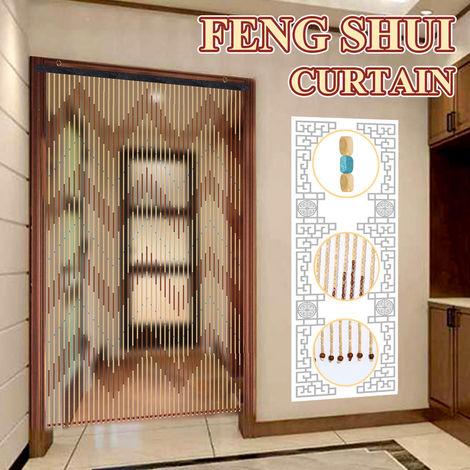 90X195cm 41 Línea Cortina de puerta de cadena de cuentas de madera Persianas Mosquitera para Porche Dormitorio Sala de estar Baño Hasaki