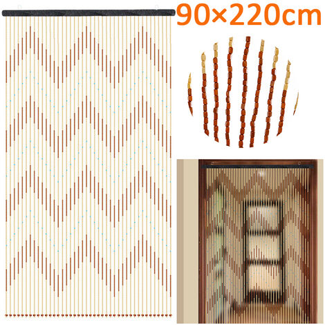 90x220cm Cortina de puerta de madera Colgante Divisor de habitación Panel de ventana Borla Fringe Mohoo