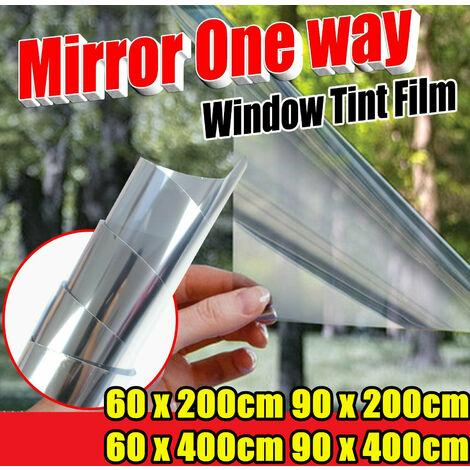 90x400CM Window Film Silver One Way Solar Film Non Adhesive Static Cling Anti UV Silver