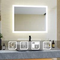 90x70 CM 26W Miroir de salle de bains avec éclairage LED Miroir Cosmétiques Mural Lumière Illumination avec Commande par Effleurement et demister ELEGANT