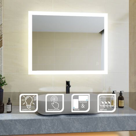 90x70 CM Miroir de salle de bains avec éclairage LED Miroir Cosmétiques Mural Lumière Illumination avec Commande par Effleurement et demister SIRHONA