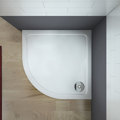Plato de Ducha Semicircular para Mamparas de Baño 80x80cm + Accesorios de desagüe