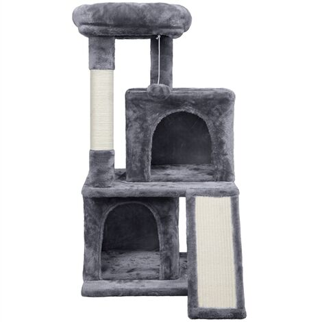 91cm 3-layer Cat Tree Tower Kitten Condo for Adult Cats/Kittens, Cat Scratching Post with 2 Condos/2 Perches/Sisal Scratching Board/Furball, Dark Grey