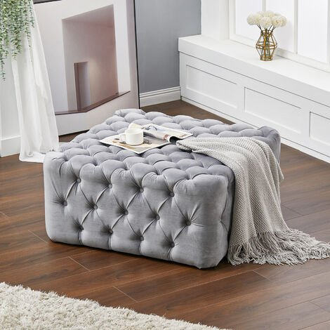 92CM Square Frosted Velvet Buttoned Footstool