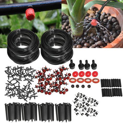 92m Kit complet d'arrosage micro goutte tuyau irrigation eau système automatique jardin