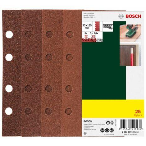 93 x 185 mm Schleifpapier Schwingschleifer Klett 25-teilig