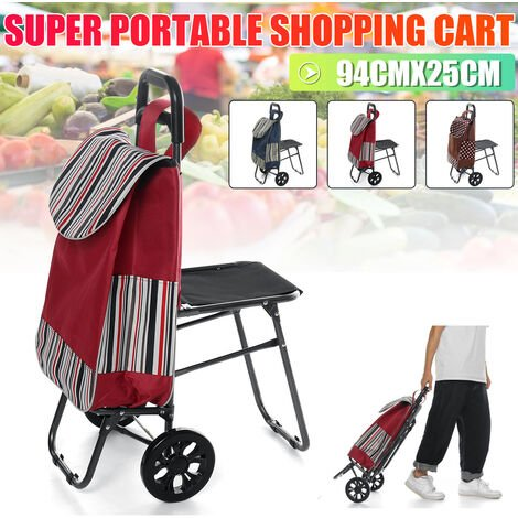 94 x 25cm 150kg Steel Tube Large Capacity Folding Basket Laundry Grocery Cart Dolly Market Bag with Stool for Portable Trolley Shopping Trolley (Red)