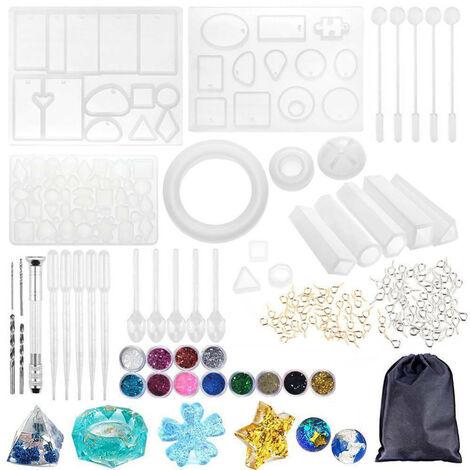 94Pcs Resine Moule Silicone Bricolage Resine Pendentif Technologie De Fabrication Pour Les Bijoux