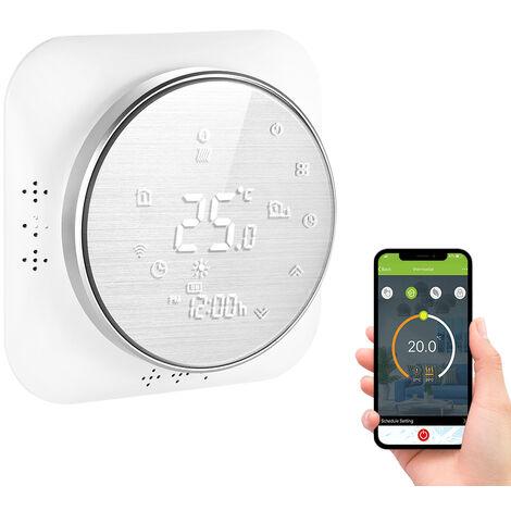 95-240V Wi-Fi termostato inteligente 5 + 1 + 1 seis periodos termostato programable Voz aplicacion de control de luz de fondo de la caldera de calefaccion termorregulador LCD compatibles con Amazon Eco Google Inicio Tmall Genie, plata, Wifi