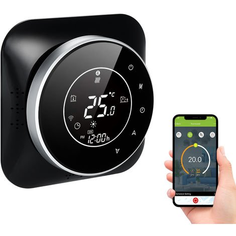 95-240V Wi-Fi termostato inteligente 5 + 1 + 1 seis periodos termostato programable Voz aplicacion de control de luz de fondo de la caldera de calefaccion termorregulador LCD, Wifi, Negro