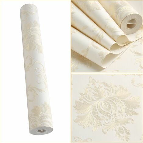 9.5*0.53M 3D STICKERS Papier Peint Mural Luxe Baroque Rococo Brillant Crème Blanc