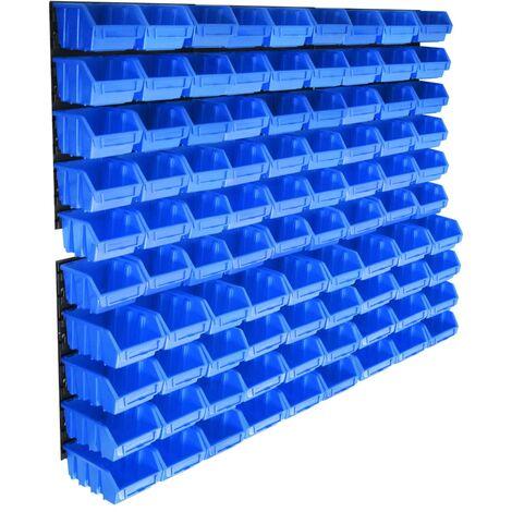 vidaXL 96-tlg. Behälter-Set für Kleinteile mit Wandplatten Blau