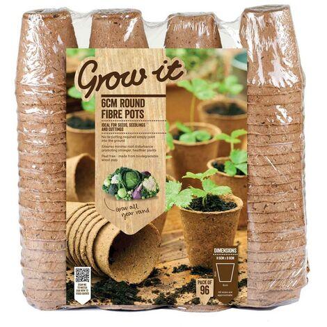 "main image of ""96 x Gardman Grow It 6cm Peat Round Fibre Seedling Pots Planters Biodegradable"""