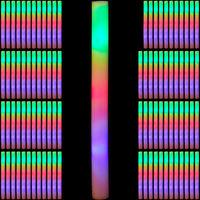 96 x Leuchtstab LED, bunte Blinkstäbe, Leuchten in 3 Modi, aus Schaumstoff, Batterien inklusive, Partystab, weiß