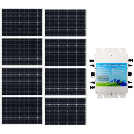 960W Solar Grid Tie kit 8x 120W Panel + 1200W Waterproof 230V Inverter Home