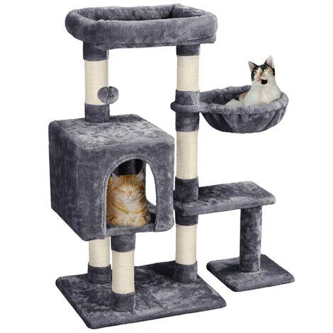 "main image of ""96cm Cat Activity Tree Climbing Tower with Sisal Scratching Posts/Condo/Basket for Small & Medium Kitten, Dark Grey"""