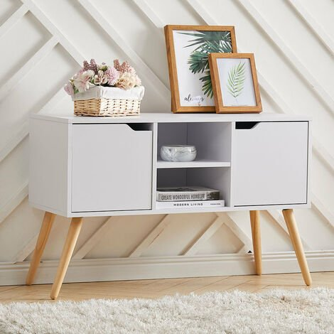 96cm TV Stand Media Unit Cabinet w/ Shelves Drawers Storage Centre White