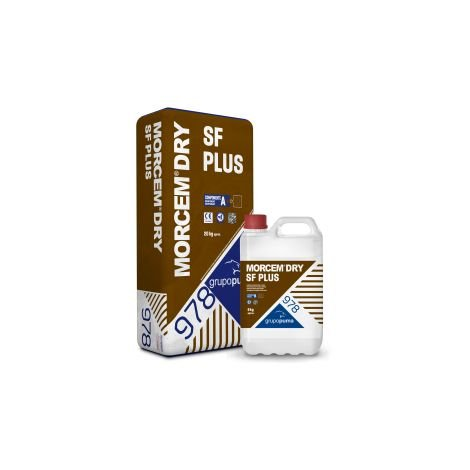 978 Morcem Dry SF Plus: mortero para revestimientos impermeables. 20 kg + 6 Kg Gris