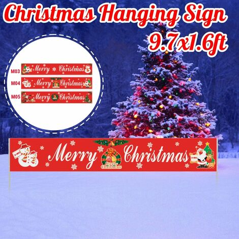 9.7x1.6ft Merry Christmas Porch Hanging Ornaments Festval Decor Outdoor Banner (M05)
