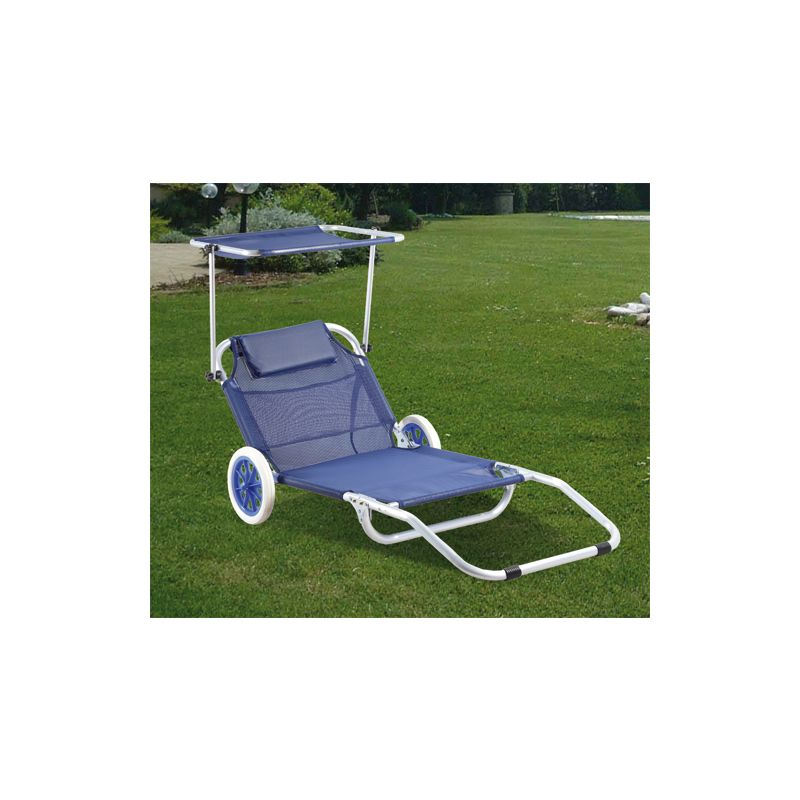 Lettino Spiaggia Mare Con Ruote Sedia Sdraio Trolley.99943 Spiaggina Trolley In Alluminio Papillon Mare Spiaggia Con