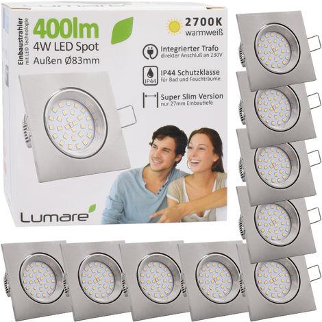 9er Set Lumare IP44 LED Einbaustrahler 4W 400 Lumen, nur 27mm extra flache Einbautiefe, LED Leuchtmodul austauschbar, Deckenspot AC 230V 120° warmweiß silber eckig
