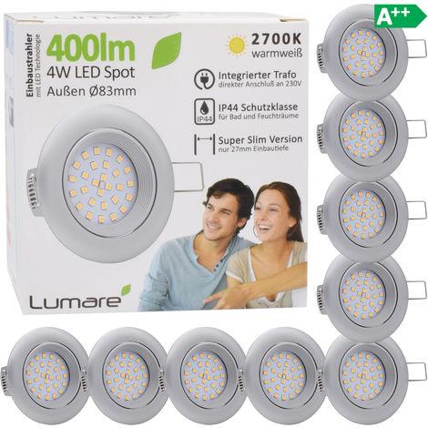 9er Set Lumare IP44 LED Einbaustrahler 4W 400 Lumen, nur 27mm extra flache Einbautiefe, LED Leuchtmodul austauschbar, Deckenspot AC 230V 120° warmweiß silber matt rund