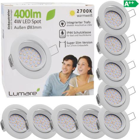 9er Set Lumare IP44 LED Einbaustrahler 4W 400 Lumen, nur 27mm extra flache Einbautiefe, LED Leuchtmodul austauschbar, Deckenspot AC 230V 120° warmweiß weiss rund