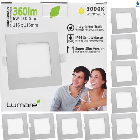 9er Set Lumare LED Einbaustrahler 6W 230V IP44 Ultra flach Wohnzimmer, Badezimmer Einbauleuchten, silber quadratisch, 26mm Einbautiefe, Mini Slim, Decken Spot warmweiß