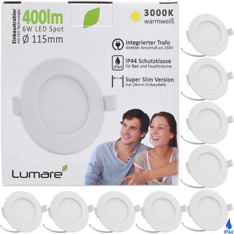 9er Set Lumare LED Einbaustrahler 6W 230V IP44 Ultra flach Wohnzimmer, Badezimmer Einbauleuchten, weiss 26mm Einbautiefe, Mini, Slim Decken Spot warmweiß
