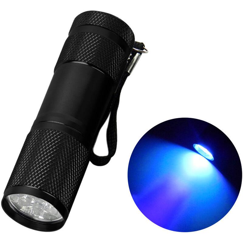 9LED Torcia UV Torcia Lampada Lampada Alluminio Ultravioletto Blacklight Detector torcia,Nero
