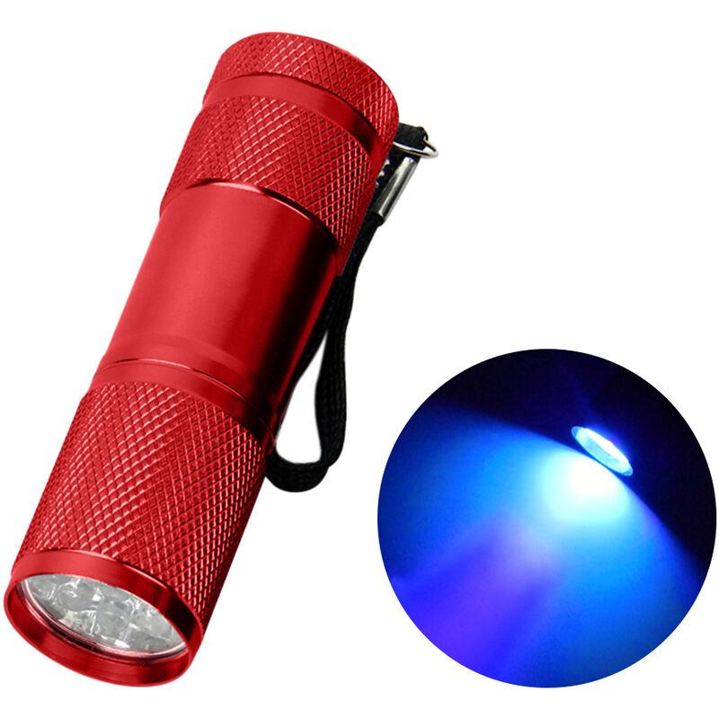 9LED Torcia UV Torcia Lampada Lampada Alluminio Ultravioletto Blacklight Detector torcia,Rosso