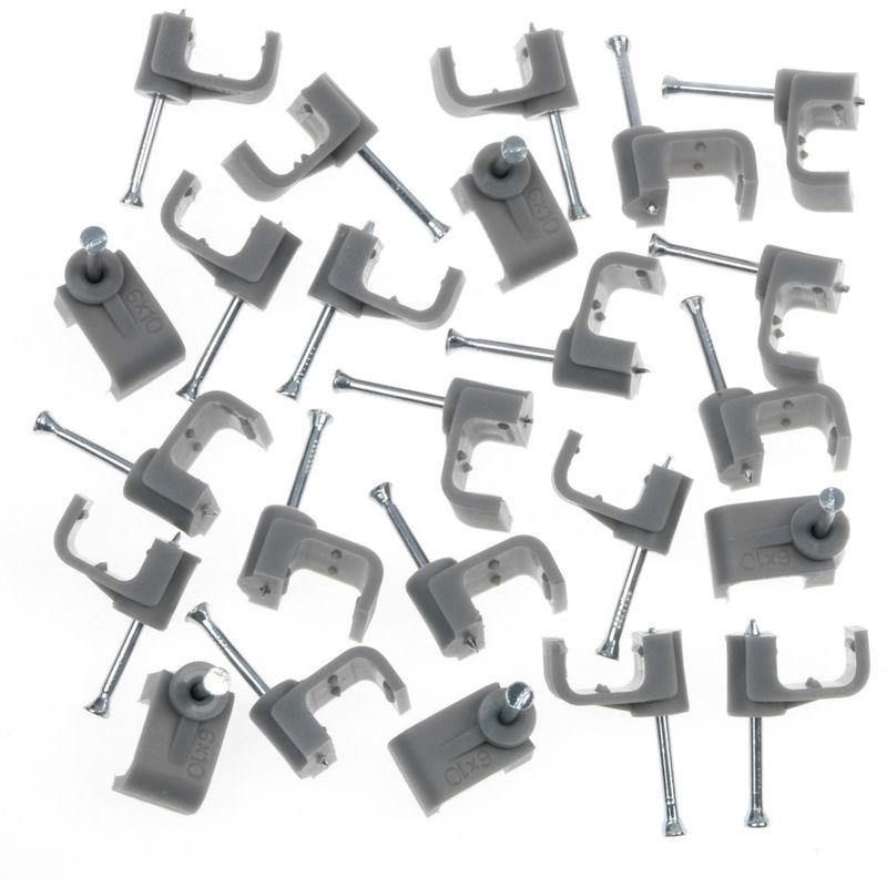 Box 100 Dencon 9mm White Round Cable Clips