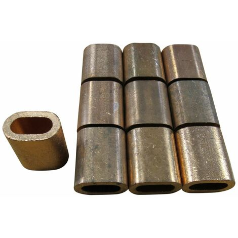 9MM, Oval Section, Copper Ferrules / Sleeves For Stainless Wire Rope, QTY - 10