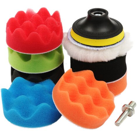 9Pcs 3 Inch High Gross POLISHING Car Sponge Kit Foam Buffing Pad Adapter Drill Mohoo