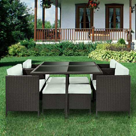 9PCS Set Rattan Chair Garden Furniture - Black