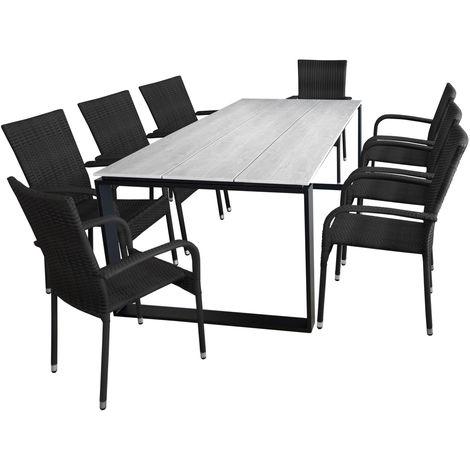 9tlg Gartenmöbel Set Gartentisch 210x100cm