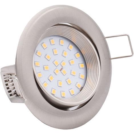 9x Lumare 4W 400lm LED spots encastrables indice de protection IP44 extra-plats 230V (source lumineuse interchangeable) pour pièces humides et pièces de vie encastrable spot de plafond argent/rond [Classe énergétique A++]