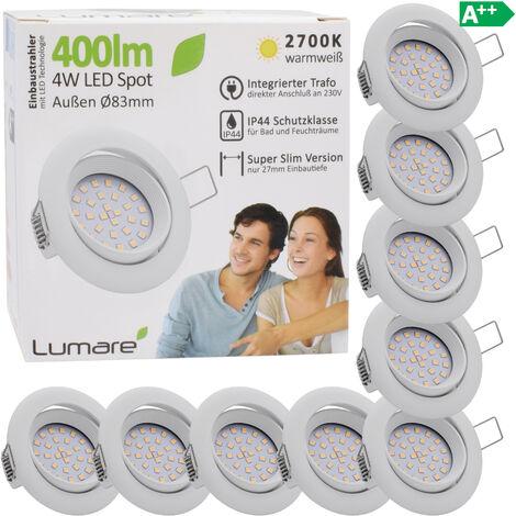 9x Lumare 4W 400lm LED spots encastrables indice de protection IP44 extra-plats 230V (source lumineuse interchangeable) pour pièces humides et pièces de vie encastrable spot de plafond blanc/rond [Classe énergétique A++]