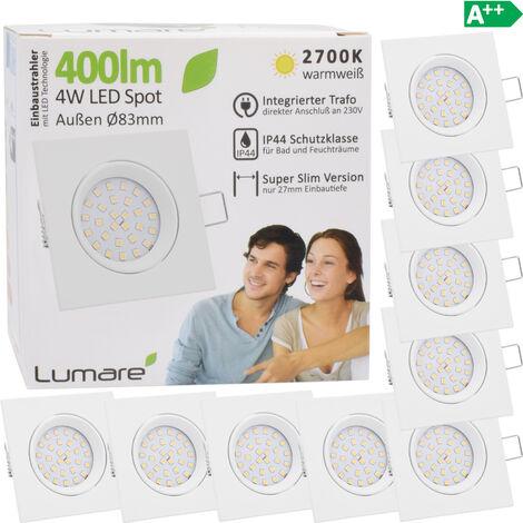 9x Lumare 4W 400lm LED spots encastrables indice de protection IP44 extra-plats 230V (source lumineuse interchangeable) pour pièces humides et pièces de vie encastrable spot de plafond [Classe énergétique A++]