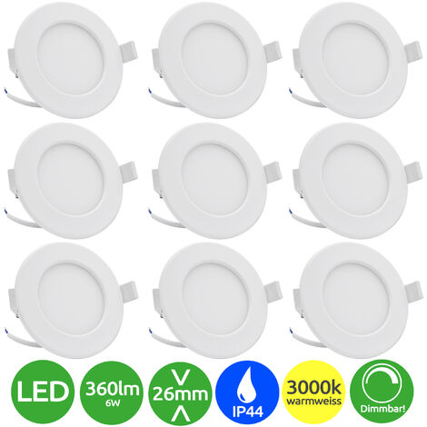 9x Lumare dimmable LED spots encastrables indice de protection IP44 extra-plats 6W 360lm 230V couleur de lumière blanc chaud pour pièces humides et pièces de vie, blanc/rond [Classe énergétique A+]