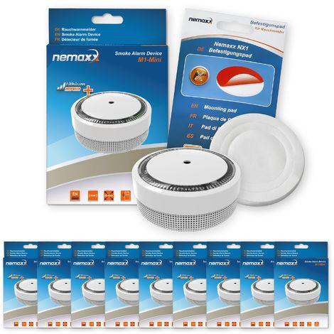 9x Nemaxx Detector de humo M1-Mini sensibilidad ftoeléctrica - con batería de litio tipo DC3V - conforme la norma DIN EN14604 & Vds - blanco + NX1 Pad de fijación