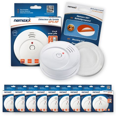 9x Nemaxx SP5-NF Detector de humo de alta calidad con pila incluida de 9V - Blanco + NX1 Pad de fijación